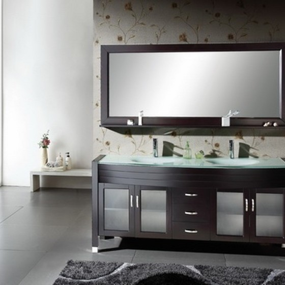 Diamond 63 Inch Espresso Glass Vanity