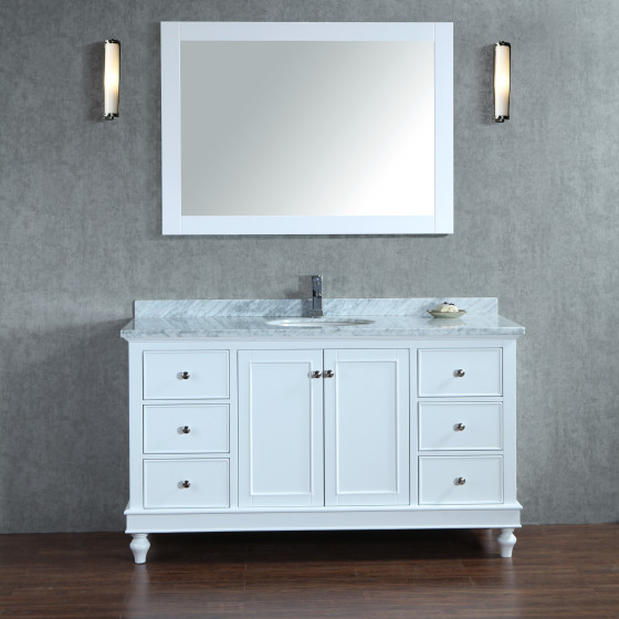 Leo 60 Inch White Vanity