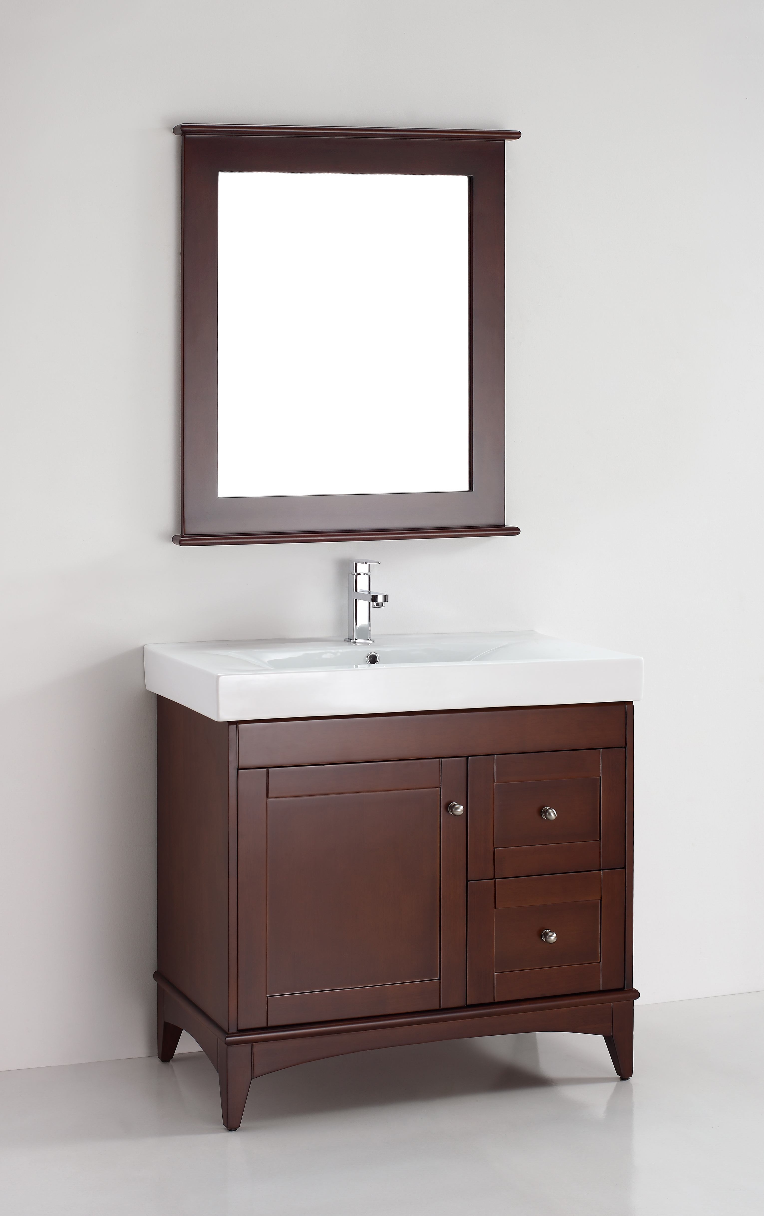 30 Inch Brown Bathroom Vanity Set With White Carrera: Magnolia 36 Inch Warm Brown Vanity
