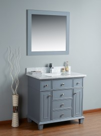 Lyra 36 Inch Charcoal Grey Vanity 1