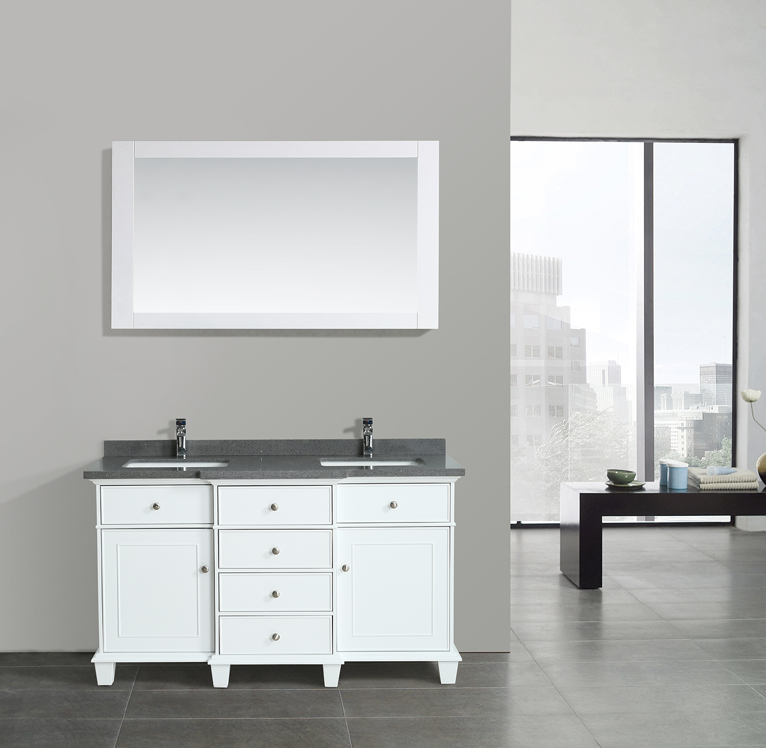 Lyra 60 Inch White Vanity | AK Trading Home Options