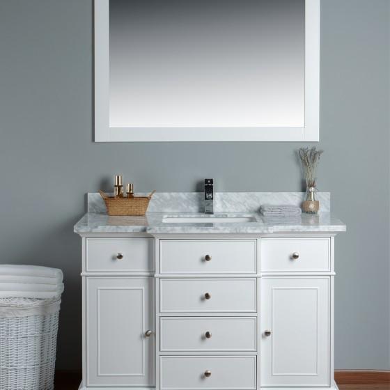 Lyra 48 Inch White Marble Vanity 1