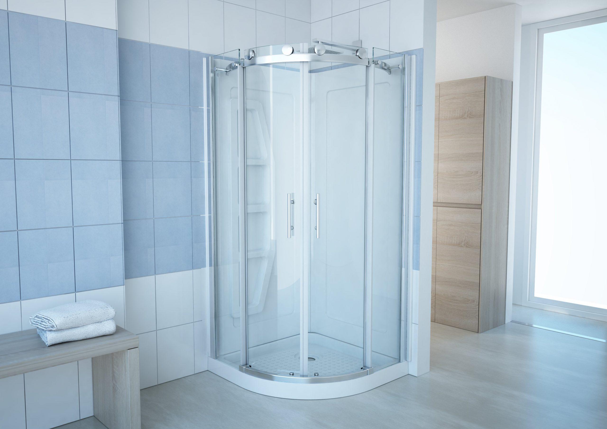 """Tali 36"""" Semi-Round Shower Enclosure w: Backwall Kit 1"""