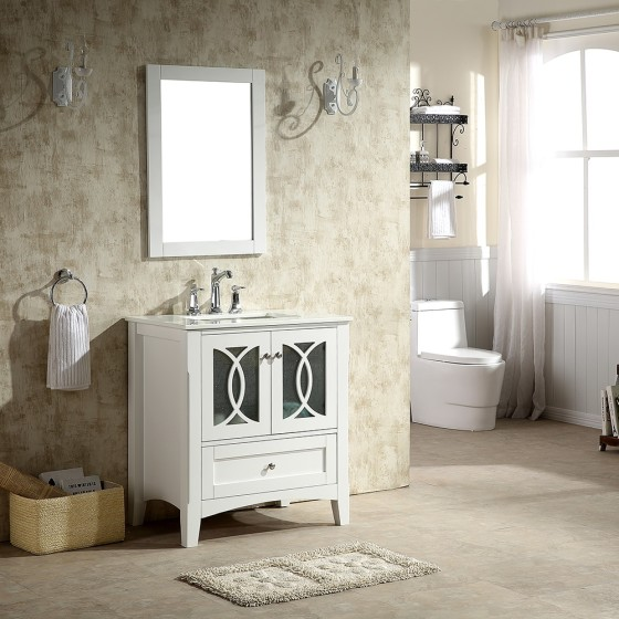 Heather 30 Inch White Vanity