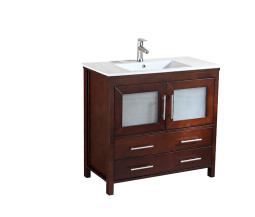 Kuroit 36 Inch Warm Brown Vanity 1