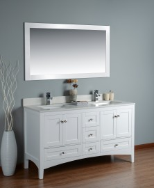 Leo 60 Inch White Cloud Carrera Quartz Vanity 1