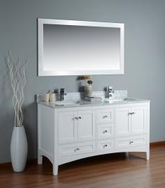 Leo 60 Inch White Marble Vanity 1