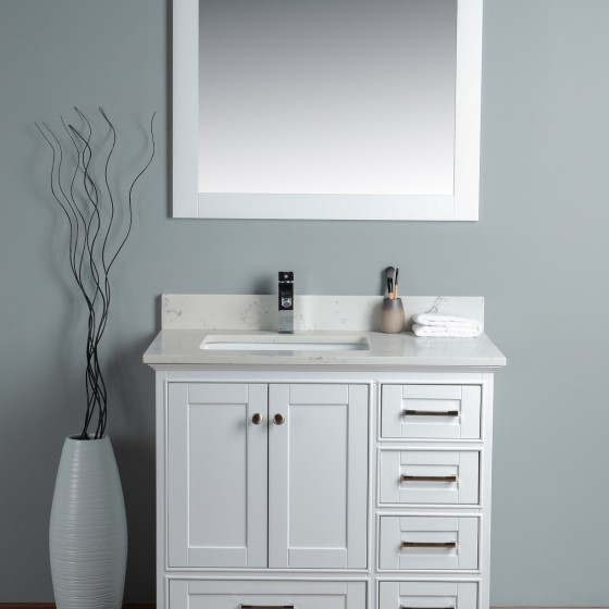 Lir 36 Inch White Cloud Carrera Quartz Vanity 1