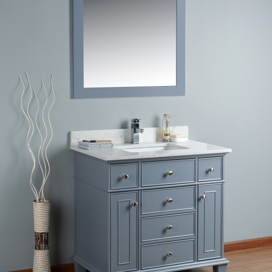 Lyra 36 Inch Charcoal Grey Cloud Carrera Quartz Vanity 1