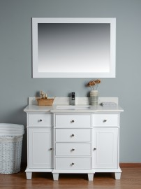 Lyra 48 Inch White Cloud Carrera Quartz Vanity 2