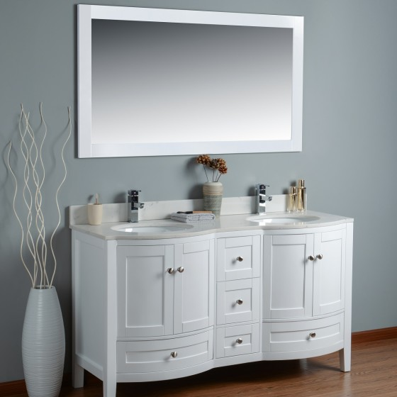 Perseus 60 Inch White Cloud Carrera Quartz Vanity 2
