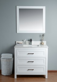 Toscana 36 Inch White Cloud Carrera Quartz Vanity 1