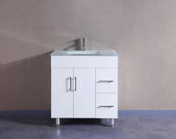 Marigold 36 Inch White Vanity w White Glass 2