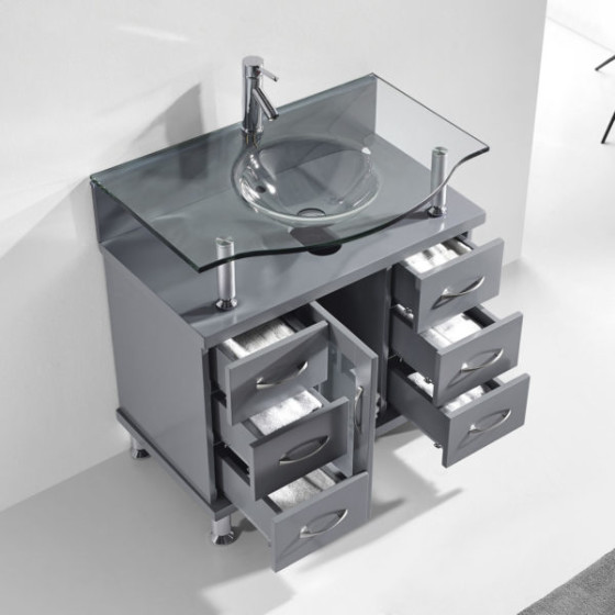 Blue Topaz 32 Inch Charcoal Grey Vanity 1