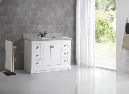 PEARLBUSH 48 WHITE WH GREY MARBLE WATERFALL EDGE DE
