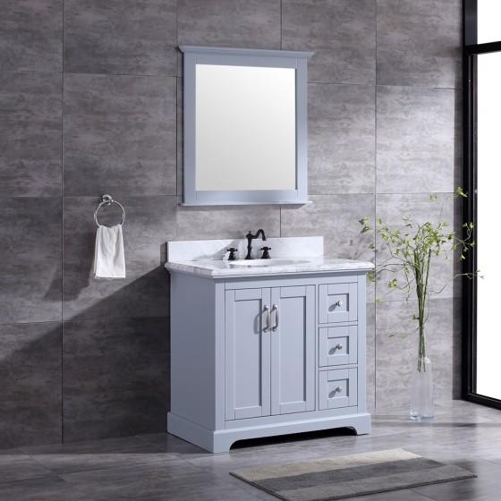 Pearl Bush 36 Inch Grey Marble Vanity 1