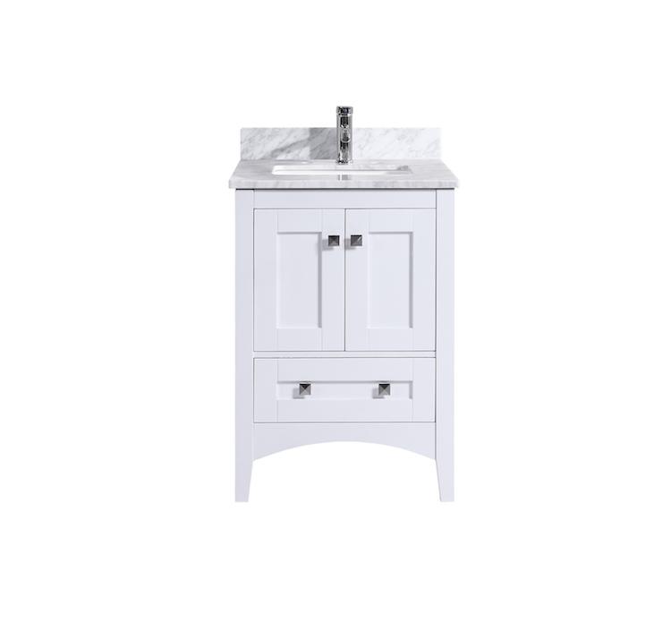 Aries 24 Inch White Carrara Marble Vanity De