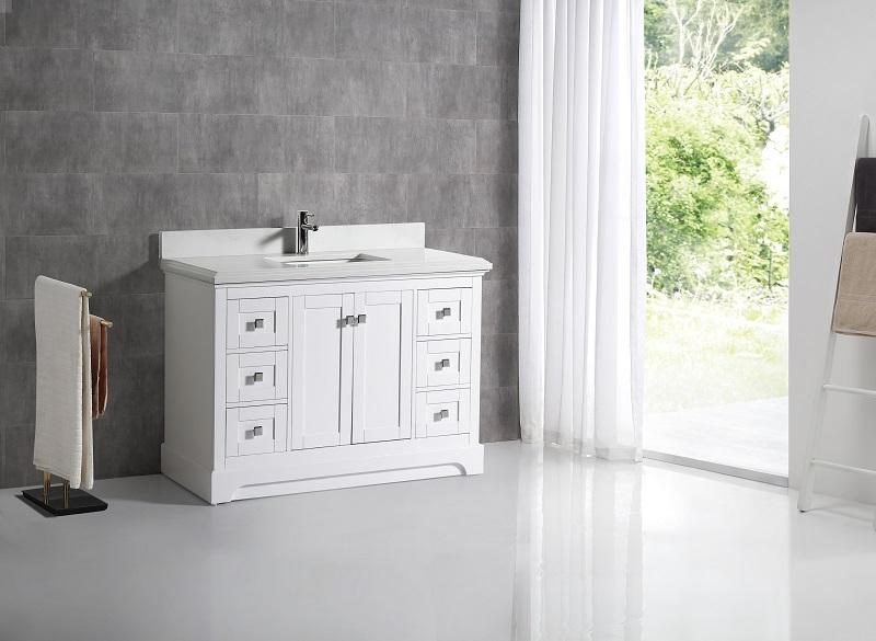 Pearl Bush 48 White Carrara Quartz